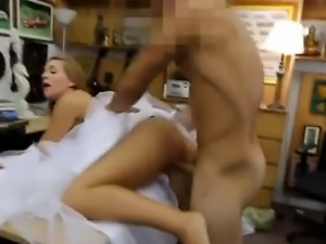Blonde Dirtbag In Wedding Dress Bent Over Pawn Shop Desk