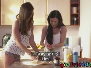 Girlfriends sweet girls baking and fucking in kitchen