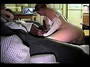 hot mature blonde gives a blowjob to a guy