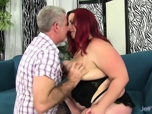 Redhead chubby gets her tits sucked and kissed on her ass