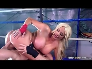 Johnny Sins fucks a busty blonde on the ring