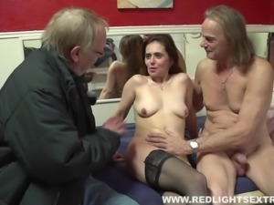 Naughty hooker lets the old man fuck her bareback