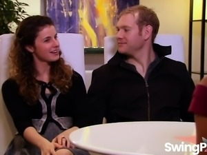 Sexy couples having group fun in reality show