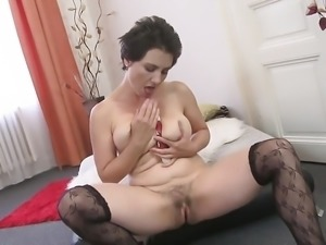 Amateur MILF with hairy pussy and saggy tits