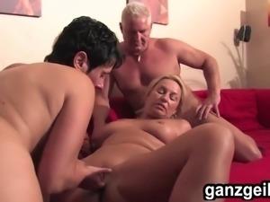 ganzgeil.com ed bisexual German MILF fucking a lucky guy