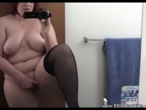 BBW MILF Films Herself Masturbating In The Bathroom