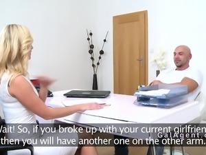 Female agent bangs bodybuilder in office