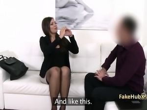 Brunette booty fucked on casting couch