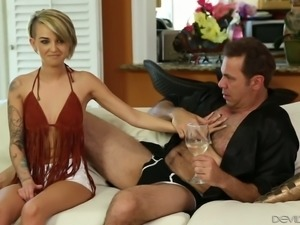 Romantic evening is turned into a really kinky steamy sex on sofa
