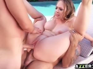 flirty wife kagney linn outdoor 3some fuck