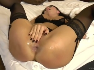 Brunette in black lingerie gets analfucked doggy and rides stiff dick
