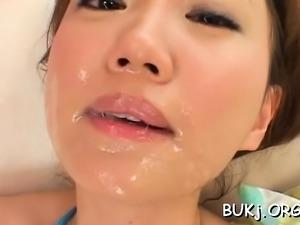 Oriental wife gets instant loads of sex cream in bukkake xxx