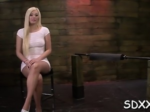 Gorgeous sweetheart gets hammered while being roped tight