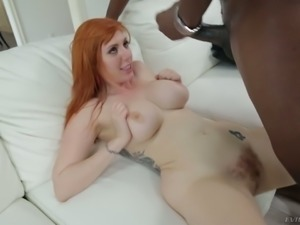 Big breasted perfect ginger babe flashes her hairy hirsute and goes interracial