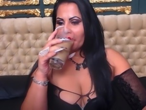 Smoking mistress is little bit too horny and masturbates