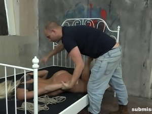 Daisy Lee is a tied up blonde ready for many BDSM games