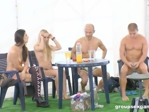 Unforgettable group sex with awesome Flavia and Diana Stewart
