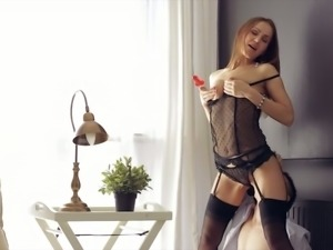 Beautiful hottie in black lingerie Nika loves to be poked while standing