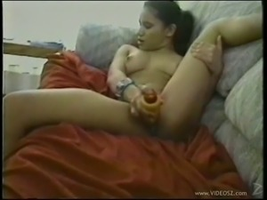 Tattooed brunette drills her hairy pussy with a dildo then gets smashed hardcore