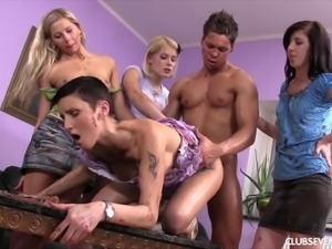 Catherine E joins horny babes for a messy cock ride