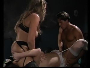 Fine ass dame in lingerie throbbed hardcore in group sex