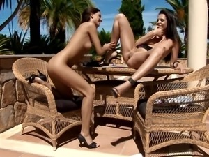 Awesome outdoor lesbian action with Anastasia and Sandra S