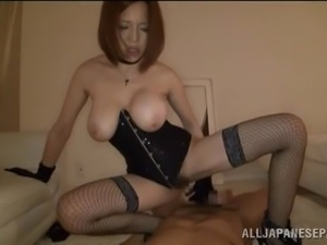 Busty Japanese cowgirl with bondage fetish takes an orgasmic ride on a stiff...