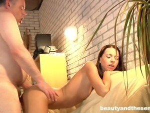 Skinny chick Leyla wants to make her hairy man's cock stiff