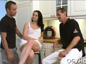 Steaming young seductress likes old ramrod in mouth and twat