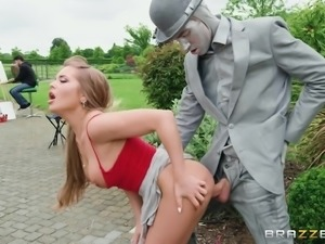 Alessandra Jane bends over for a street artist cock