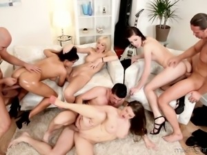 Wild orgy party with extremely cock hungry slut called Mona Lee