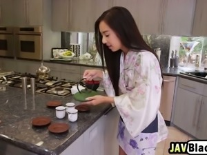 Slutty petite Asian chick gets her tight asshole fucked hard by a black stud