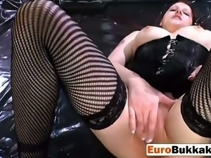 Horny European slut proves that no one drinks pee better than her