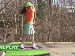 Sexy Asian girl loves golf but she loves cock even more