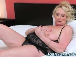 Chubby grandmother sucks