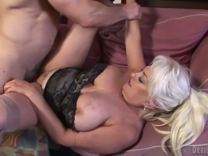 Big muscular man drills old pussy of a busty granny