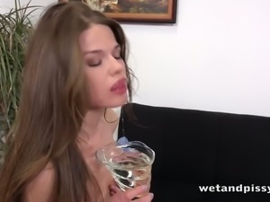 Lonely titless bitch Nedda licks off her own urine and masturbates