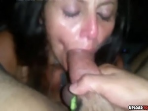 Brunette chick sucking boyfriends dick in point of view