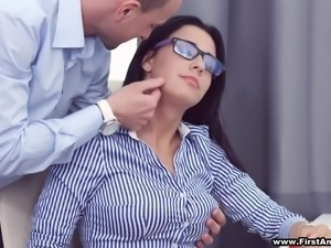 Busy busty hottie in glasses Chanel Lux gets disturbed with hot analfuck