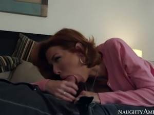 Red haired busty MILF Veronica Avluv swallows massive penis of Dane Cross