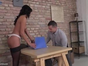 Mesmerizing brunette secretary Lexi Layo passionate rides fat cock