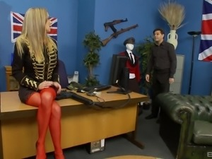 Myla Charles wears red stockings while being shagged well