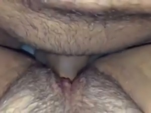 Horny dude boning my hairy pussy in a missionary position