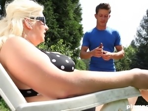 Monika Blond is a randy blonde woman in need of a hard member