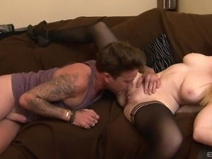 Classy stockings and a pearl necklace during sex with Ruby Temptations