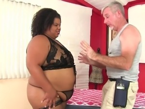 Black BBW Peaches Love Has Her Fleshy Body and Cunt Massaged
