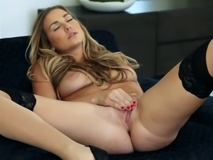 Adorable milf with natural tits fingering her shaved pussy