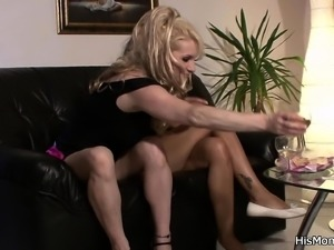 His Czech GF fucks blonde mom with strapon