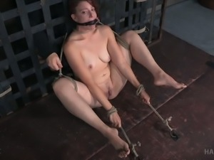 Redhead white chick with small saggy breasts bound and teased