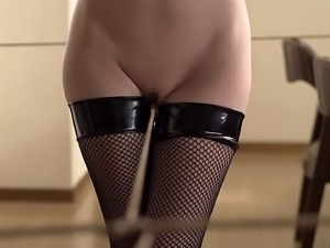 Misaki Honda wears stockings while being seduced by a mature hunk